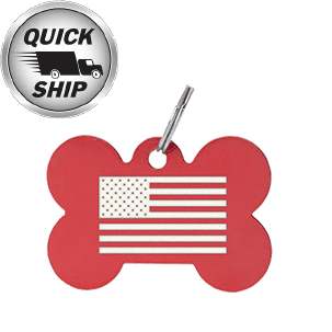 A custom laser engraved aluminum pet tag in a bone shape. This pet tag has the american flag engraved on the front, but we can engrave anything including pet details and name.