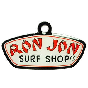 A custom metal tag that we made for Ron Jon surf shop.