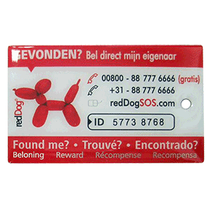 A custom pet tag with sequential numbering, chipped, and calling information. We can ad any type of information.