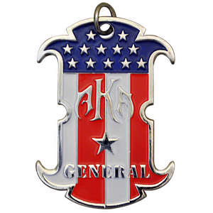 A specialty custom dog tag that was made for AKA General. A chrome dog tag custom cast and cut with a red white and blue US flag color fill.