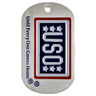 "A custom photo etched dog tag with the USO logo and the tag line ""Unit everyone comes home"" in red white and blue on a aluminum tag."